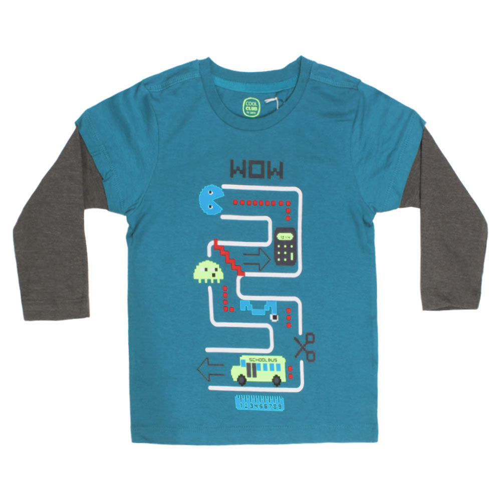 COOL CLUB Wow Rubber Print Boys Greenish Blue Premium Cotton Tshirt