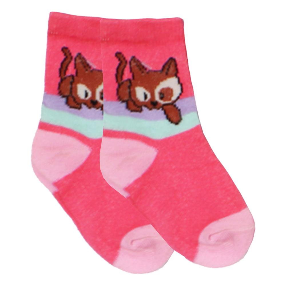 Cat Print Hot Pink Girls Socks
