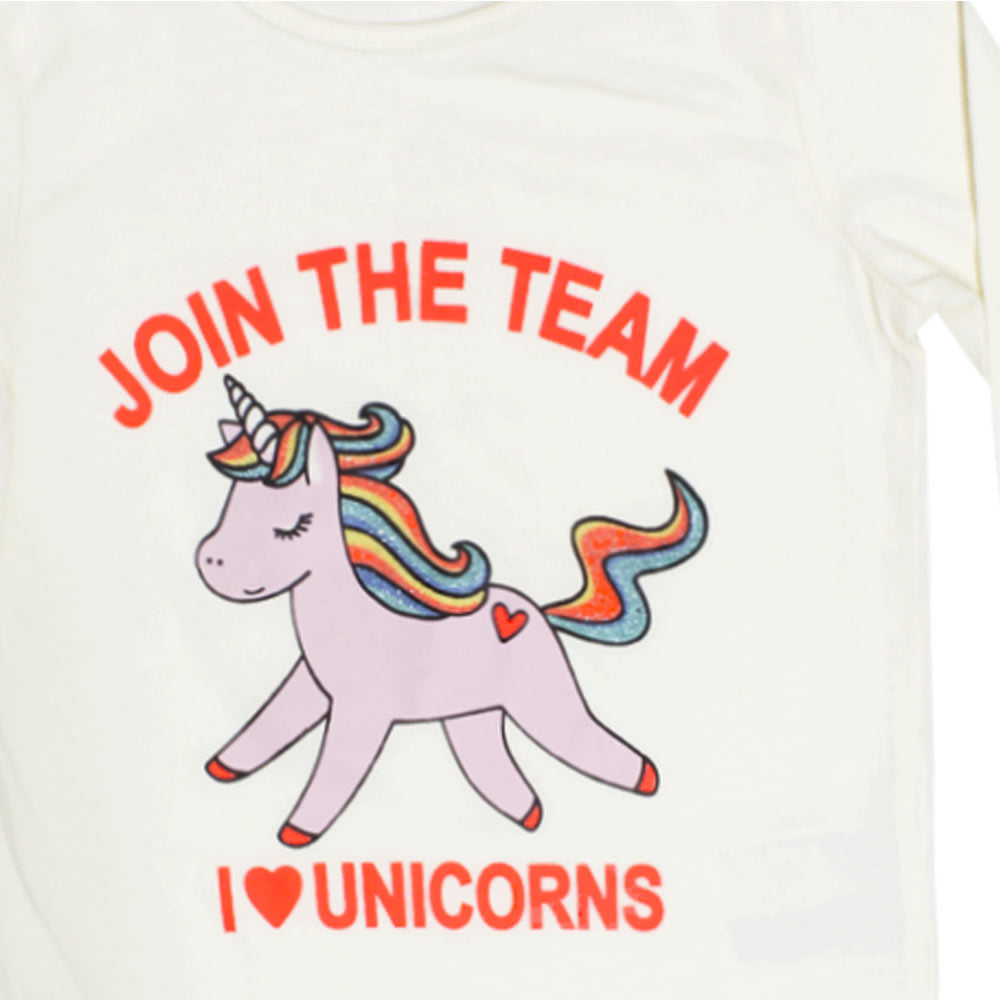 DOPO DOPO Glitter Unicorn Print Off White Girls Premium Cotton Tshirt