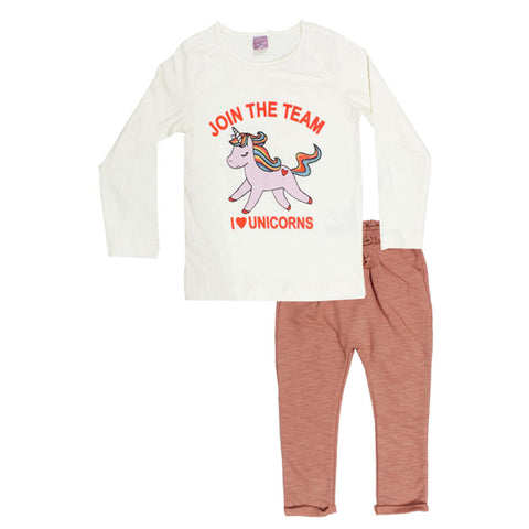 DOPO DOPO Unicorn Print Off White Girls Premium Cotton 2 Piece Set