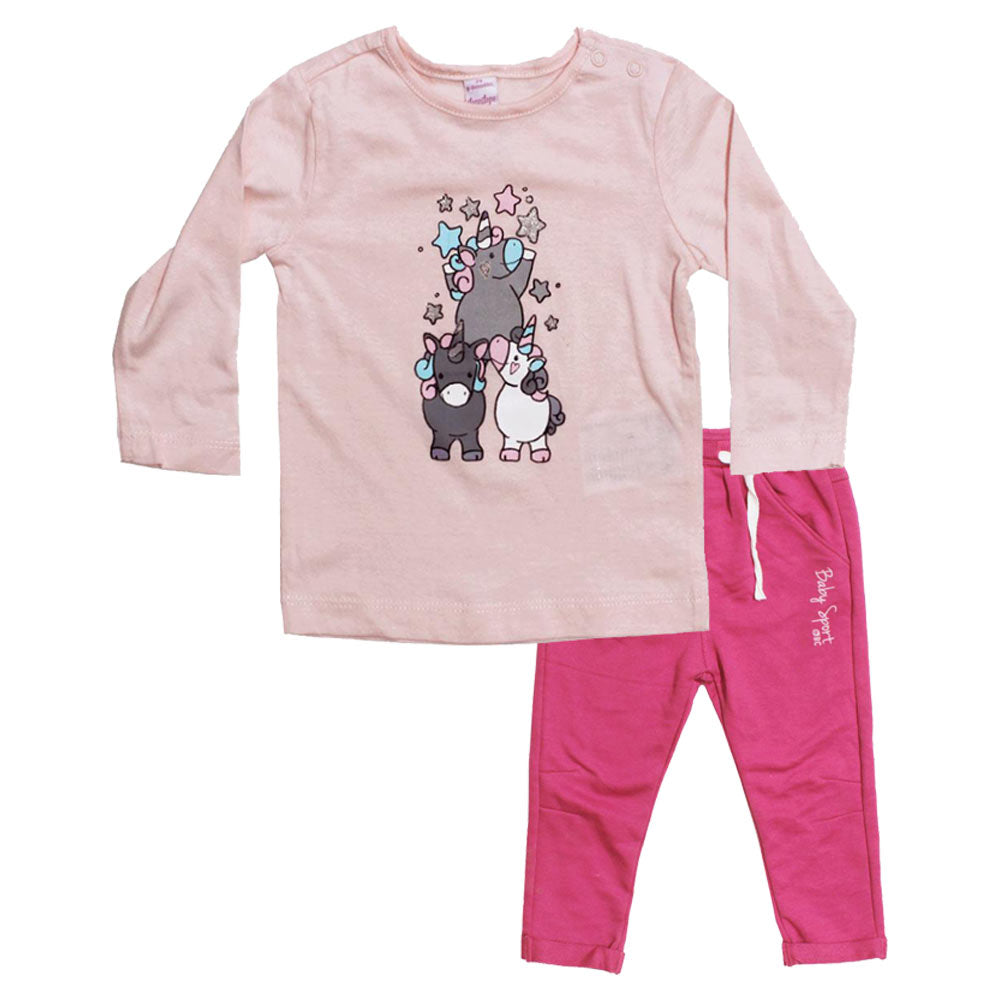 DOPO DOPO Unicorn Print Pink Girls Premium Cotton Tshirt 2 Piece Set