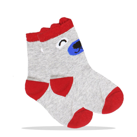 Dear Print Grey And Red Unisex Cotton Socks