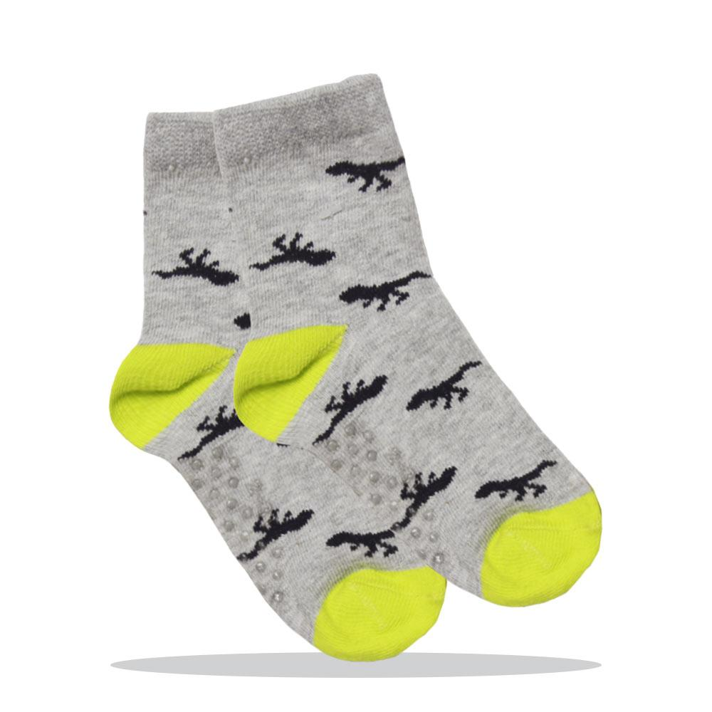 Dinosaur Print Grey Boys Cotton Socks
