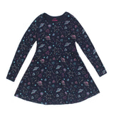FUTURINO All Over Print Blue Girls Cotton Dress