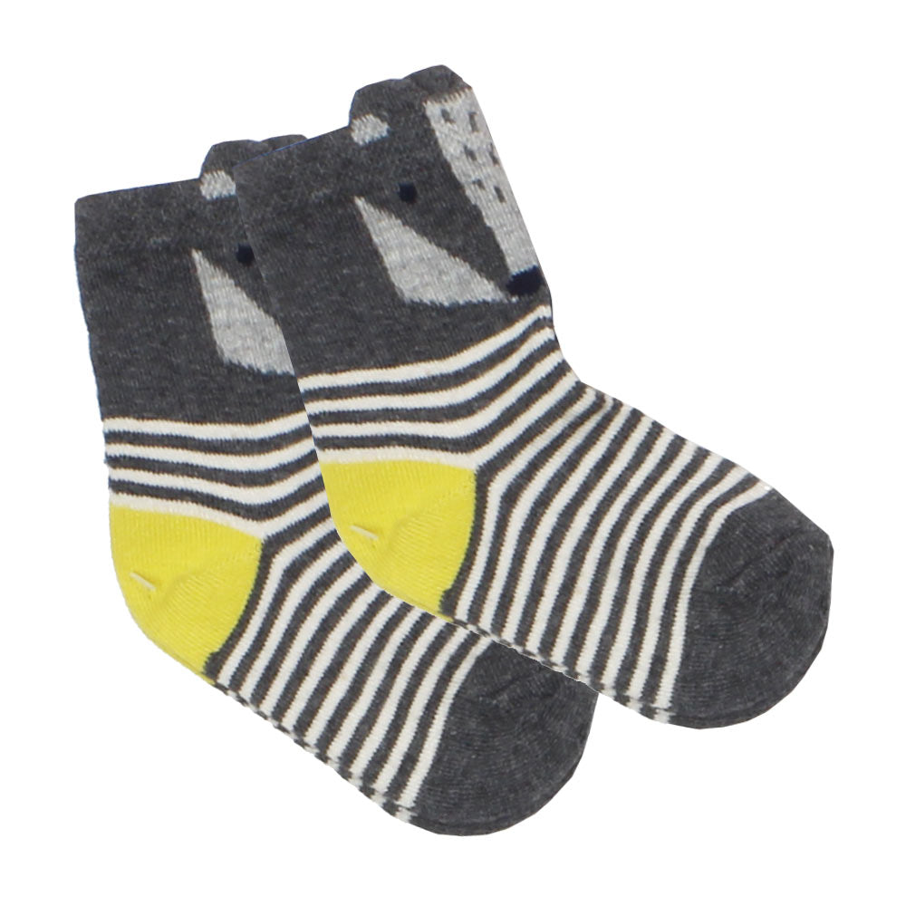 Fox Print Grey And White Stripes Boys Socks