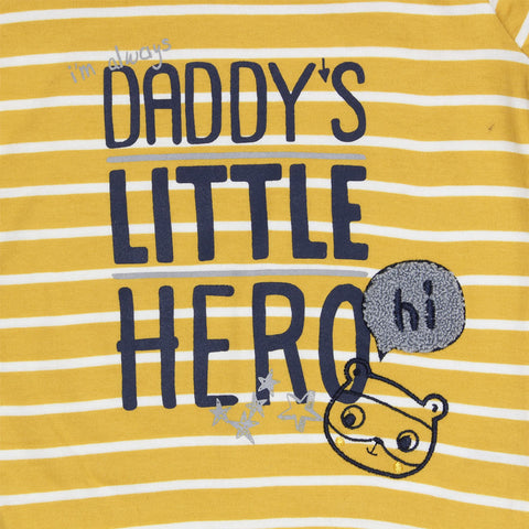 GEORGE Little Hero Yellow And White Stripes Boys Premium Cotton Tshirt