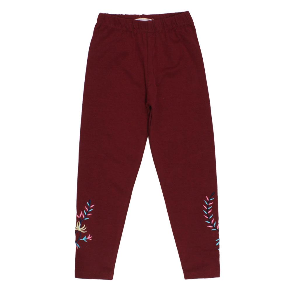 GIA MOROSA Embroidery Maroon Girls Cotton Legging