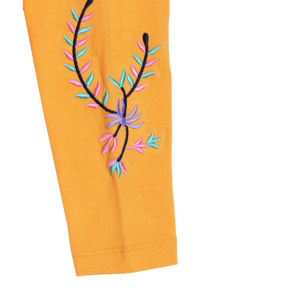 GIA MOROSA Embroidery Yellow Girls Cotton Legging