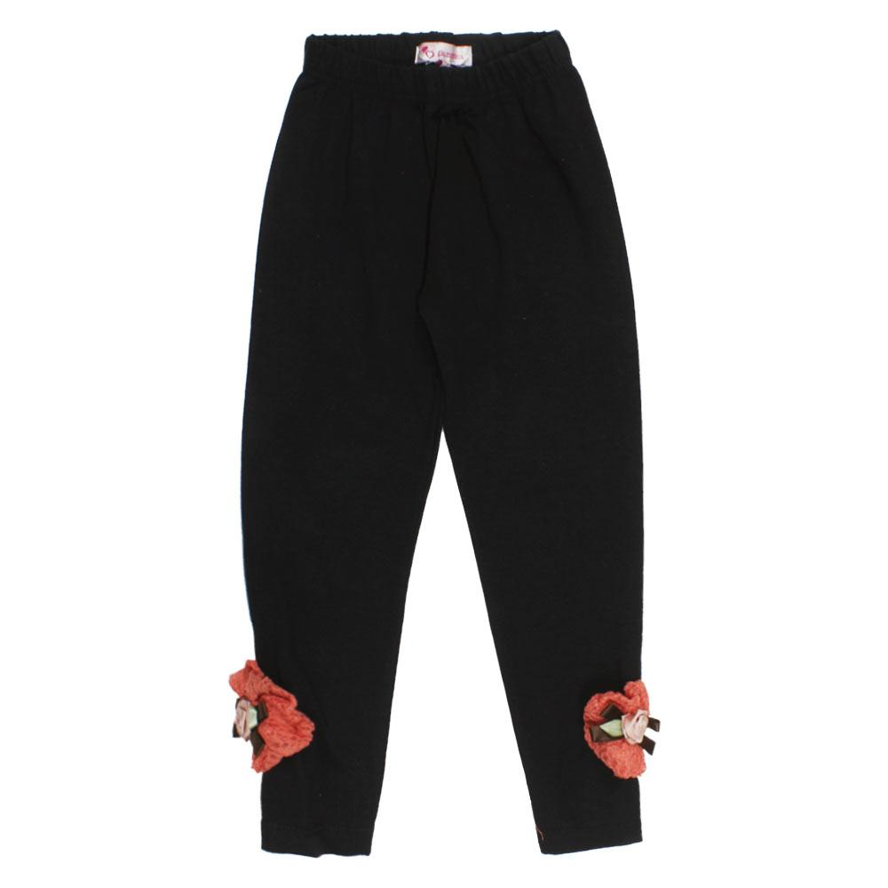 GIA MOROSA Flower Black Girls Cotton Legging
