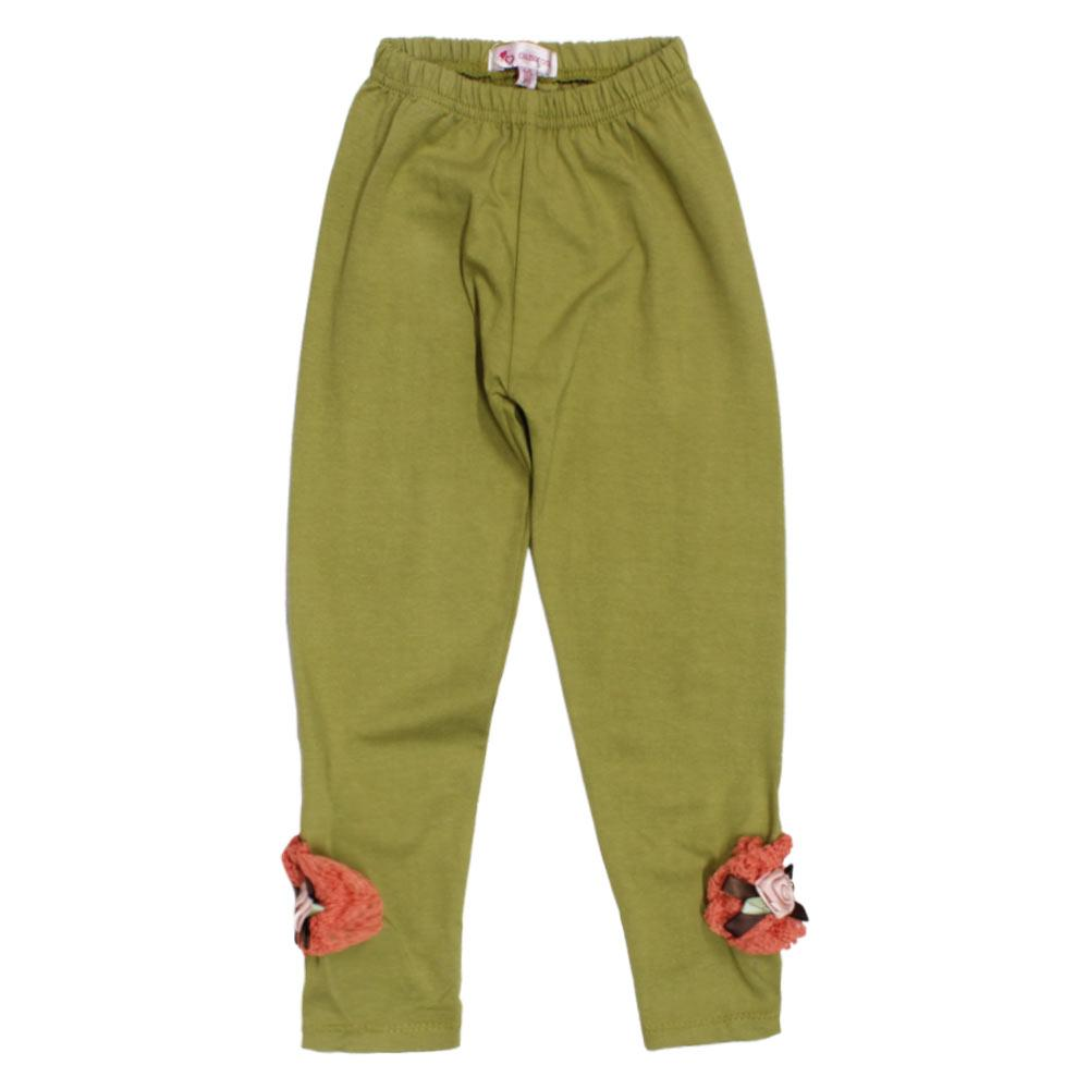 GIA MOROSA Flower Green Girls Cotton Legging