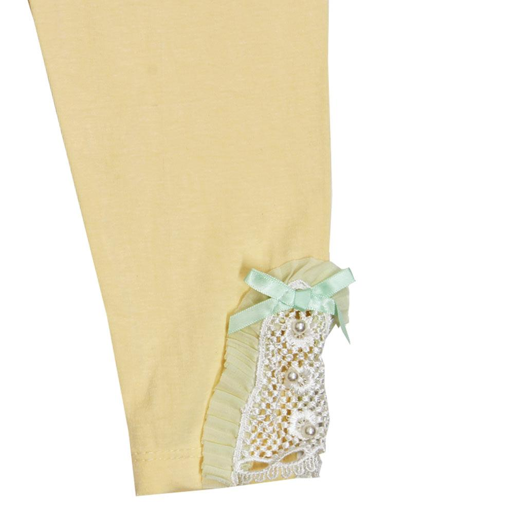 GIA MOROSA Green Bow Yellow Girls Cotton Legging