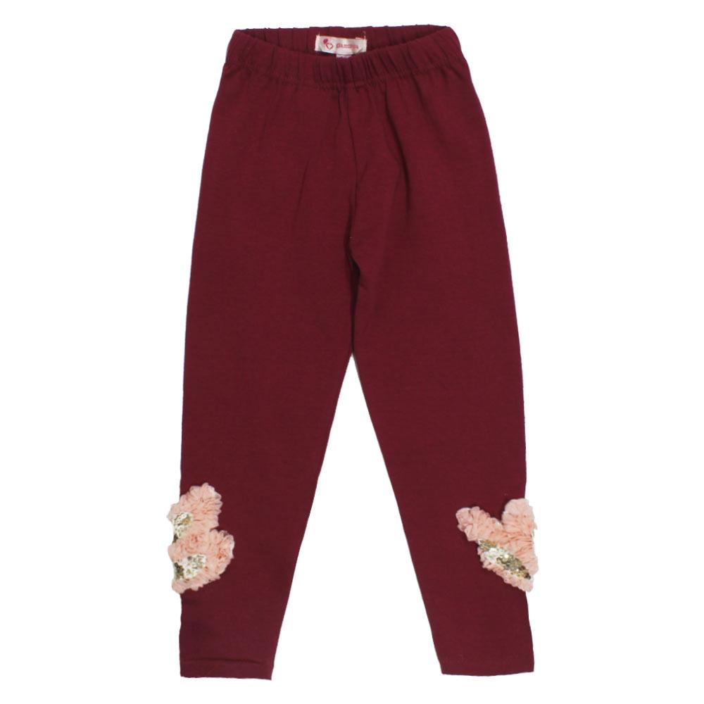 GIA MOROSA Heart Maroon Girls Cotton Legging