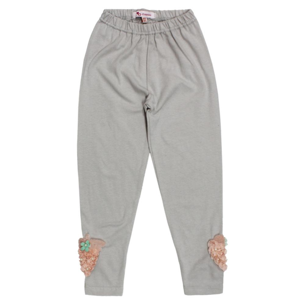 GIA MOROSA Pink Stow berry Flower Grey Girls Cotton Legging