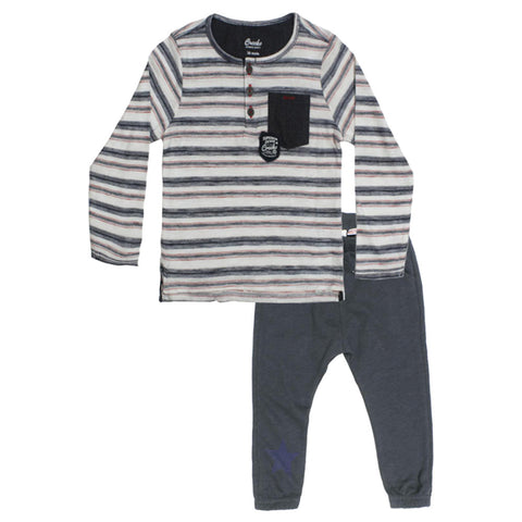 CREEKS Blue And White Stripes Boys Cotton 2 Piece Set