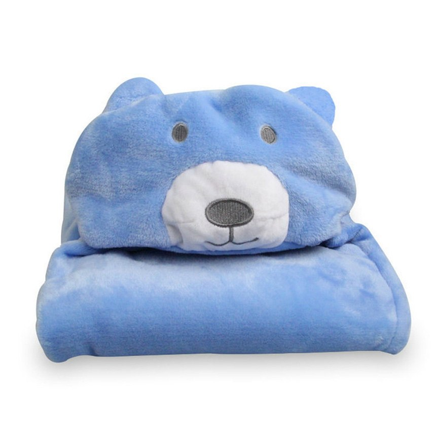 Carter's Happy Baby Bear Light Blue Hooded Blanket