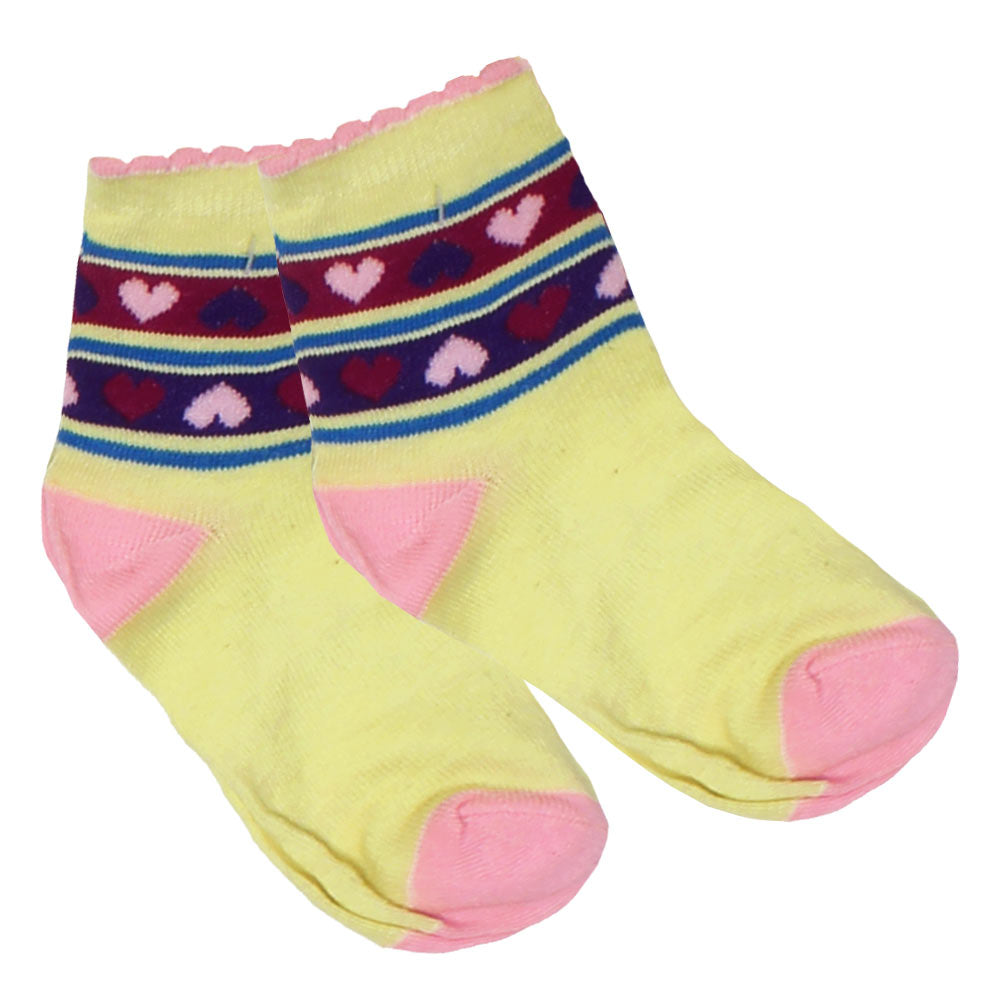Heart Print Yellow And Pink Girls Socks