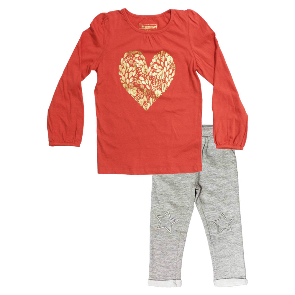 IN EXTENSO Glitter Heart Orange Girls Premium Cotton Tshirt 2 Piece Set