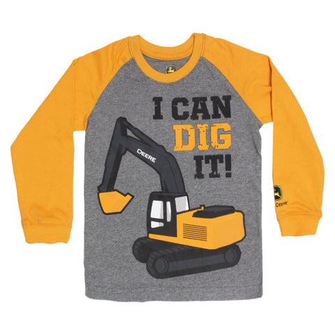 JOHN DEERE I Can Dig It Rubber Print Grey Boys Cotton Tshirt