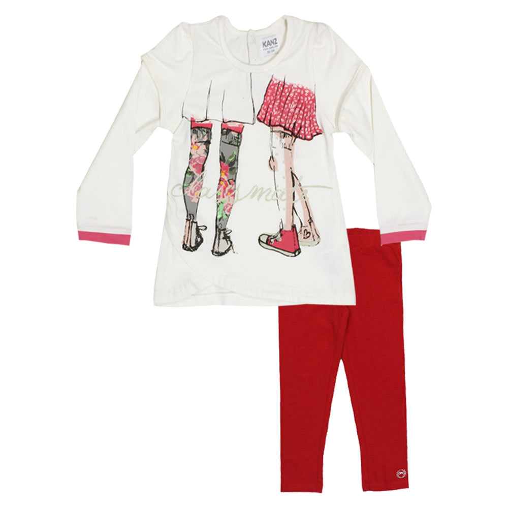 KANZ Off White Girls Premium Cotton Tshirt 2 Piece Set