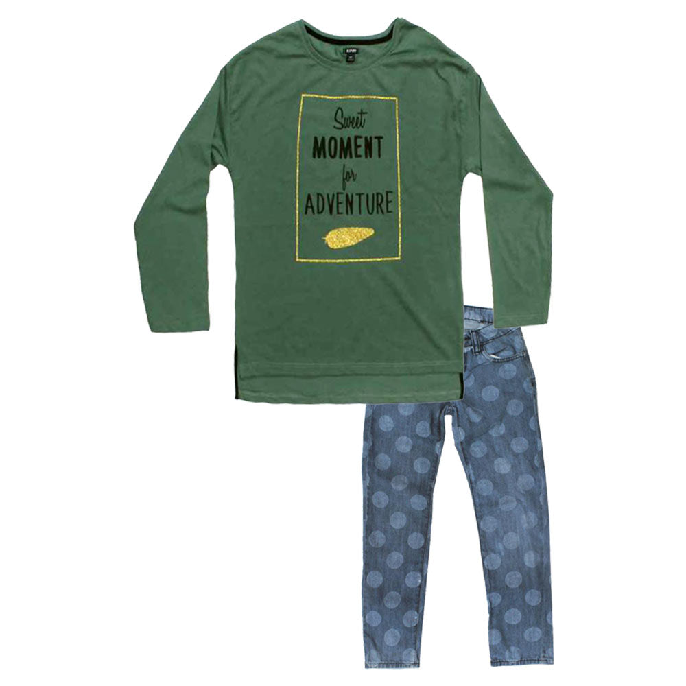 KIABI Moment Adventure Green Girls 2 Piece Set