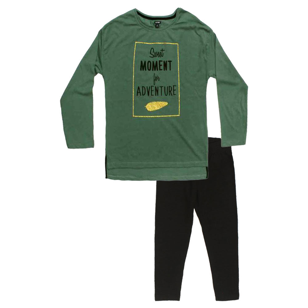 KIABI Moment Glitter Green Girls Cotton 2 Piece Set