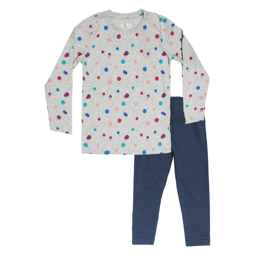 KIDS Polka Dots Print Grey Girls Premium Cotton Tshirt 2 Piece Set