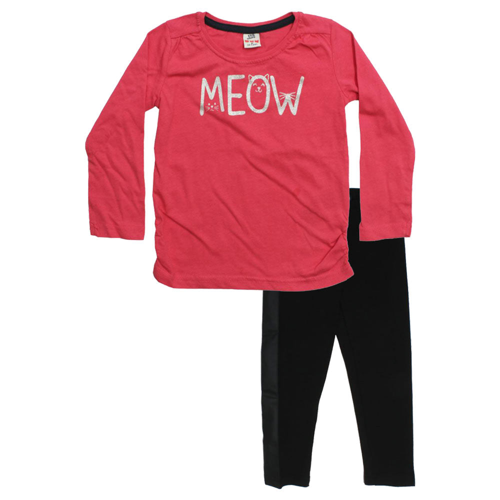 KIKI And KOKO Meow Pink Girls Premium Cotton Tshirt 2 Piece Set