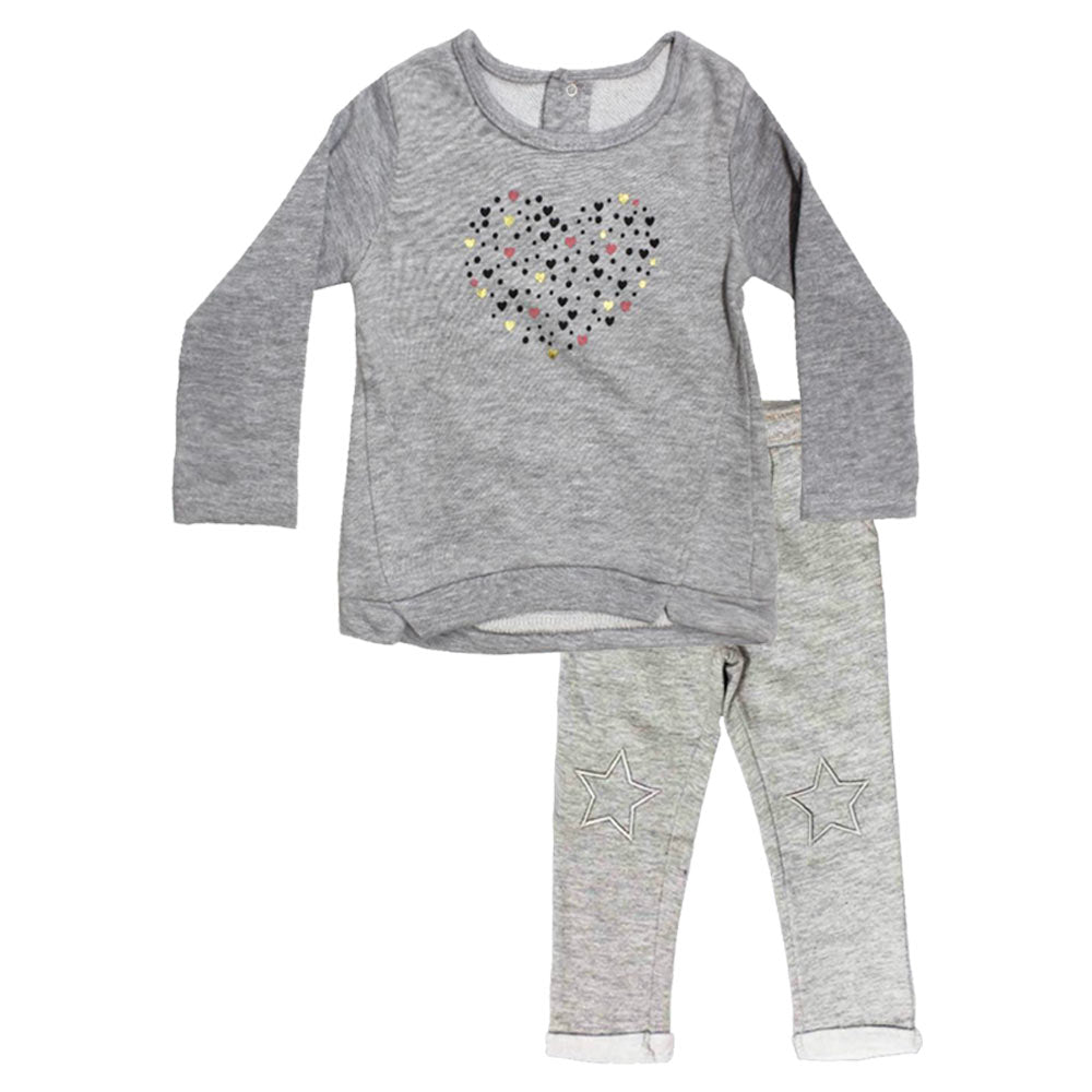 KIMADI Glitter Heart Grey Girls Cotton Sweat Shirt 2 Piece Set