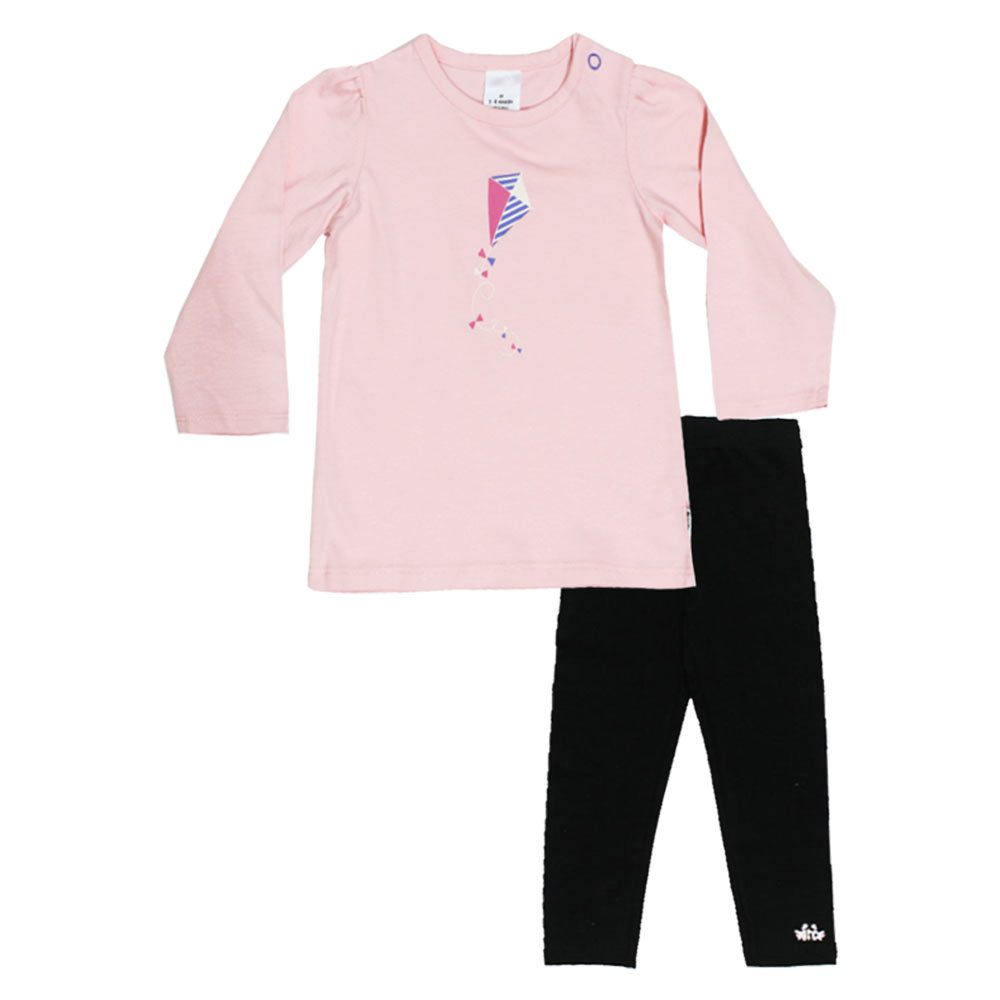 Kite Print Pink Girls Premium Cotton Tshirt 2 Piece Set