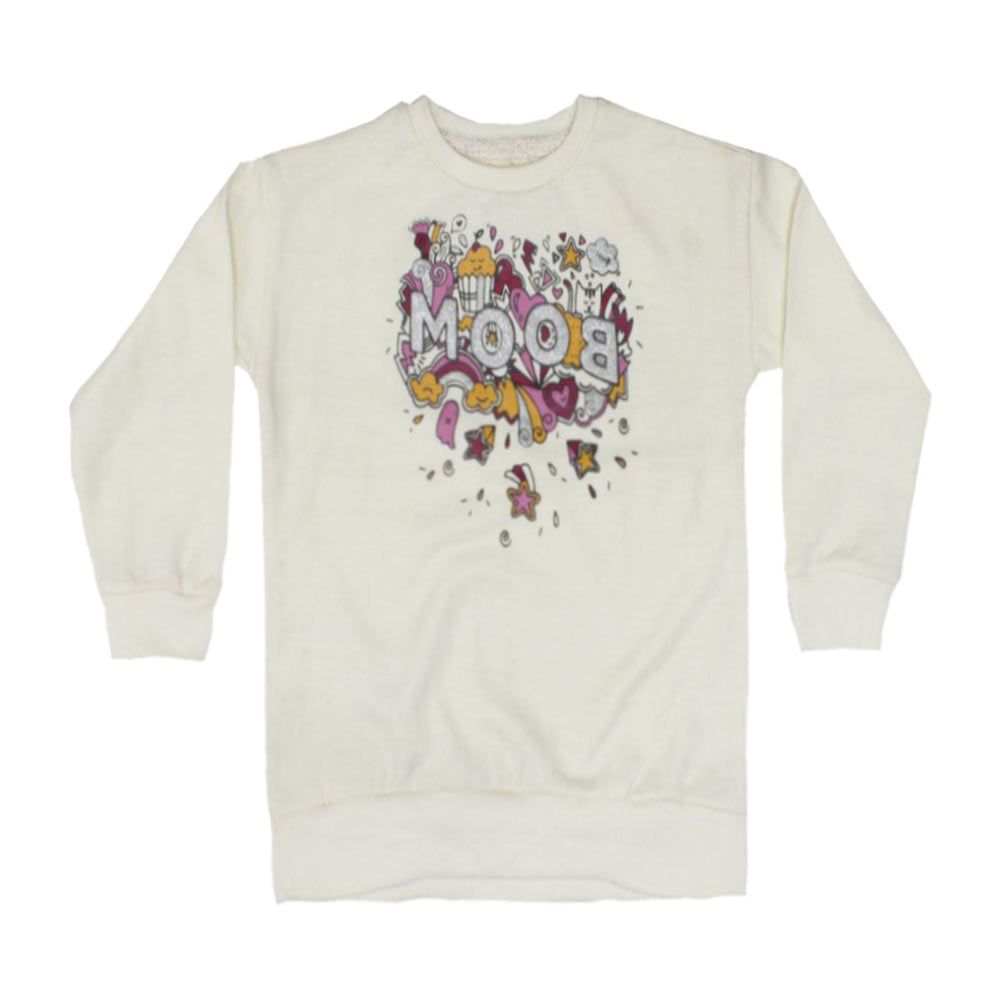 LEFTIES Boom Glitter Print Off White Girls Cotton Fleece Sweat Shirt 2 Piece Set