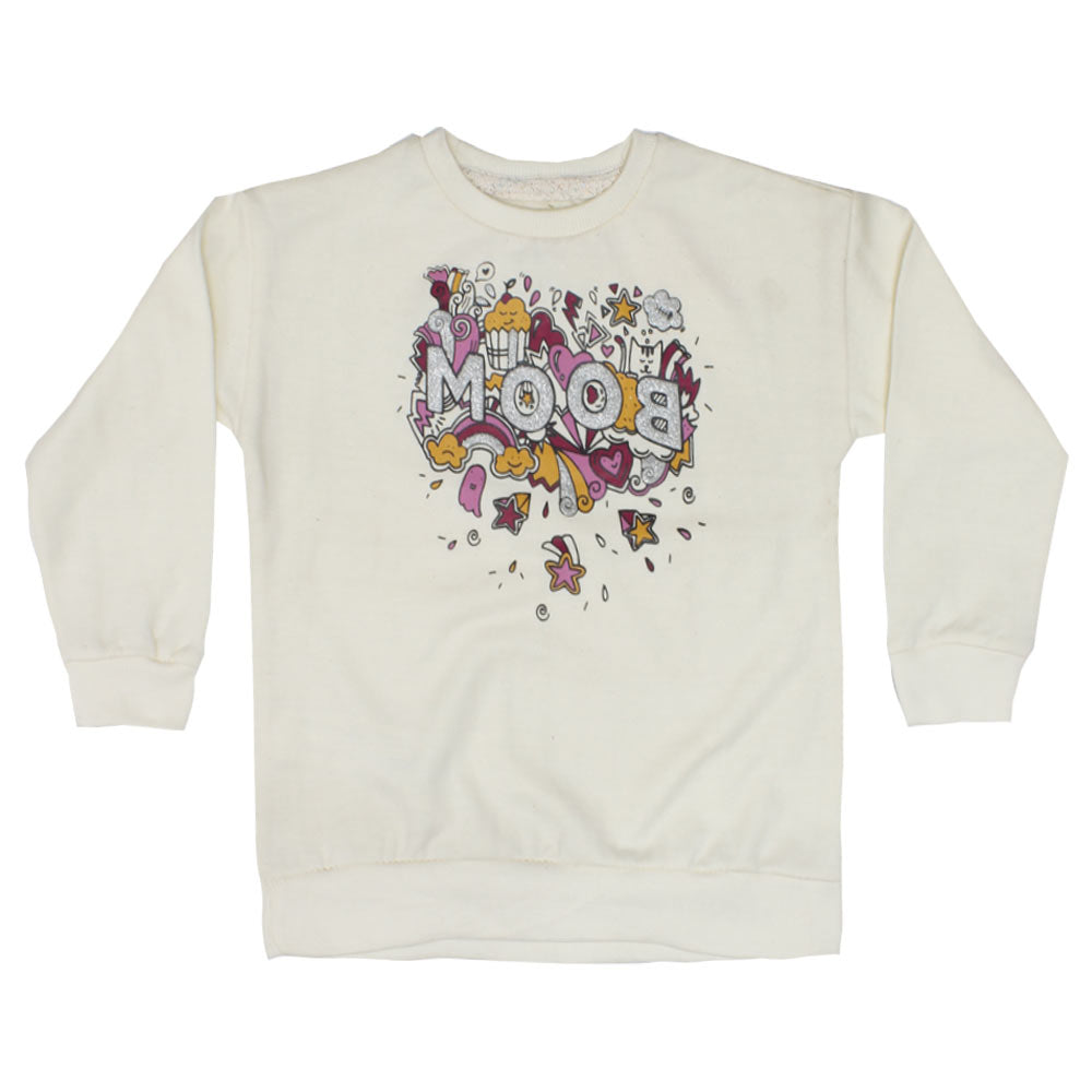 LEFTIES Boom Glitter Print Off White Girls Cotton Fleece Sweat Shirt