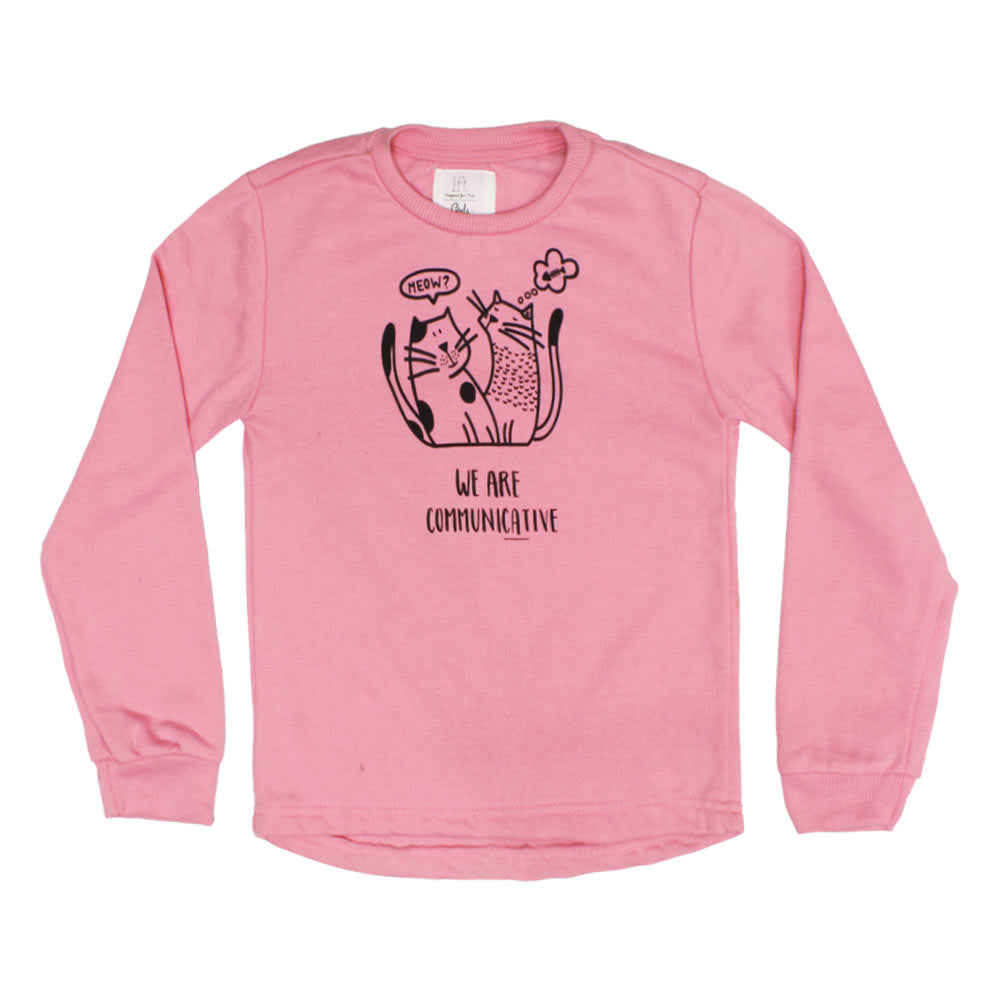 LEFTIES Meow Print Pink Girls Cotton Fleece Sweat Shirt
