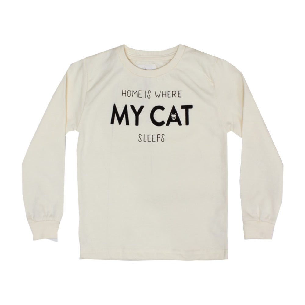 LEFTIES My Cat Off White Girls Cotton Fleece Sweat Shirt