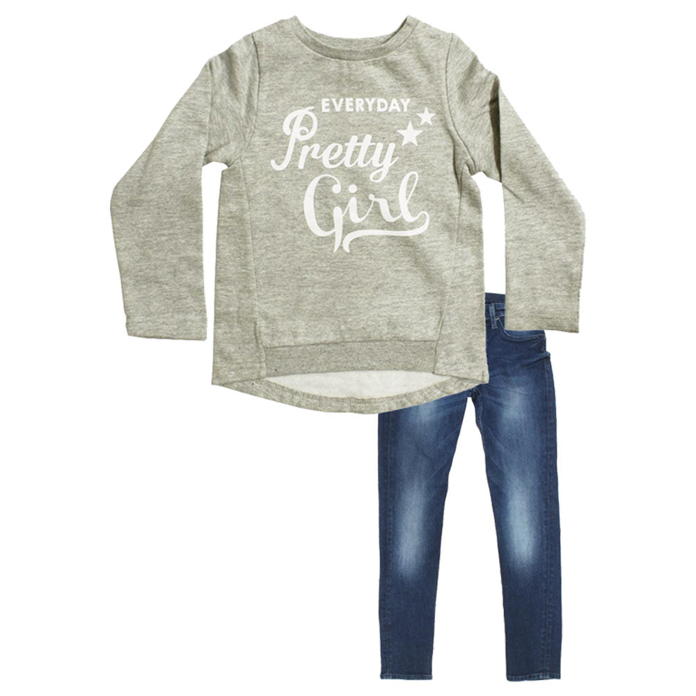 LEFTIES Pretty Girl Cotton Fleece Grey Girls Sweat Shirt 2 Piece Set