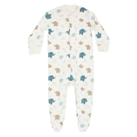 LUPILU All Over Elephant Print Off White Boys Cotton Romper