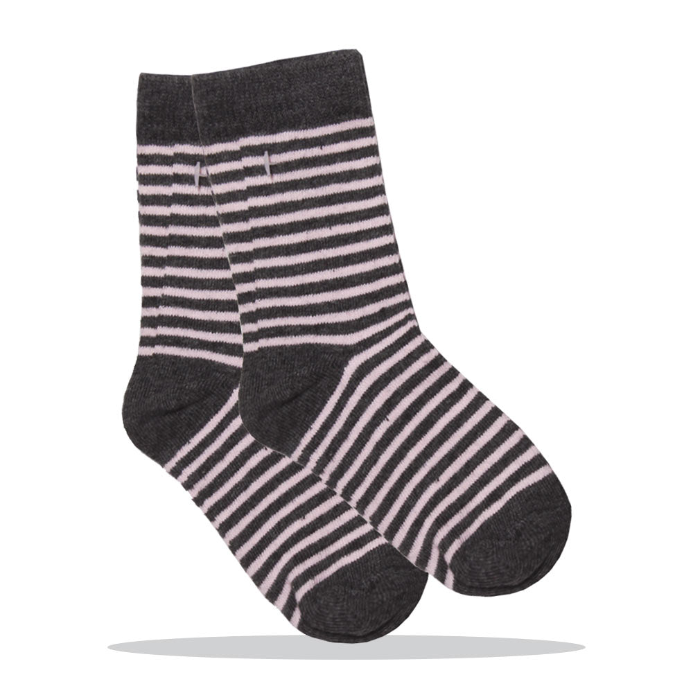 Light Pink And Grey Stripes Girls Cotton Socks