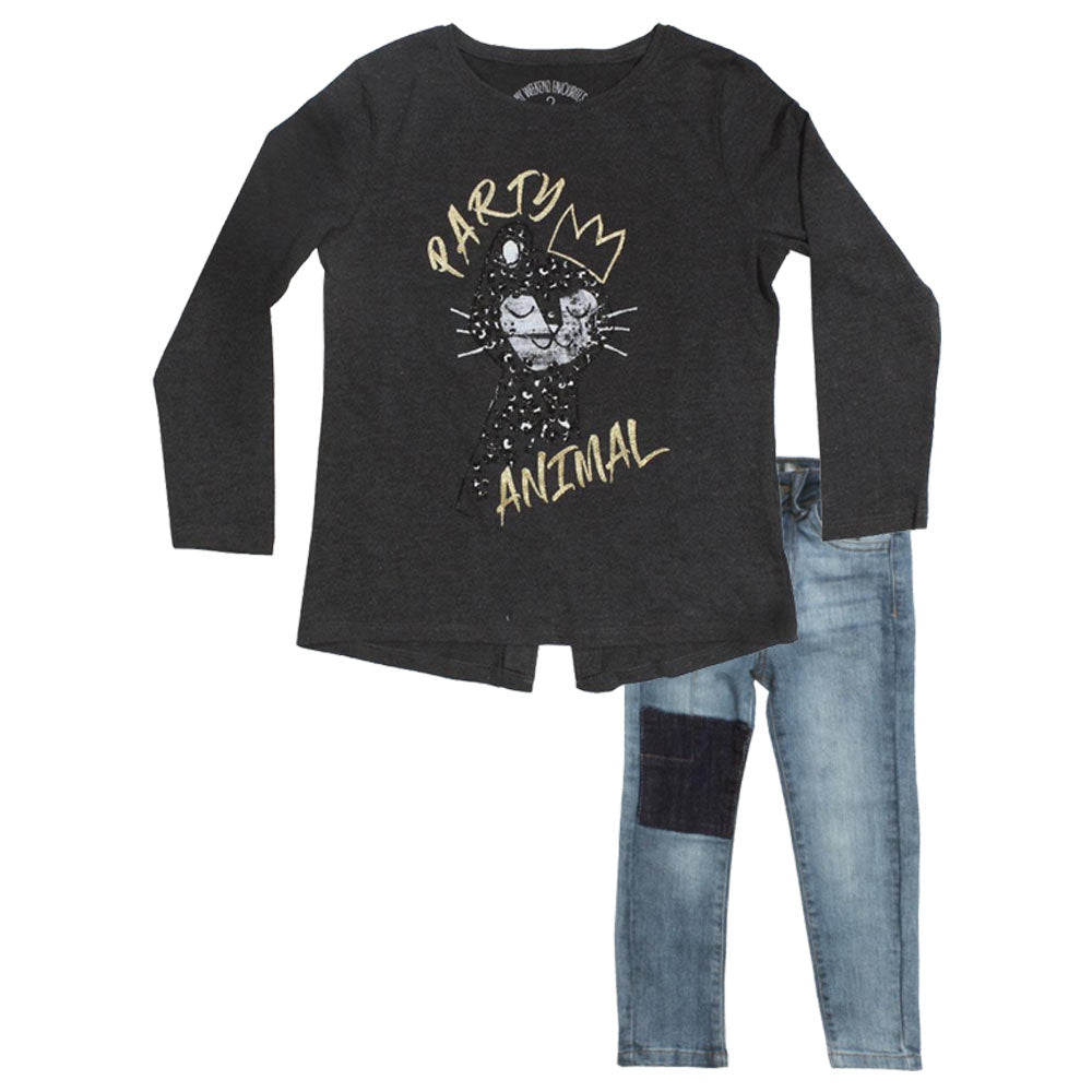 MATALAN Party Animal Glitter Print Grey Girls Premium Cotton Tshirt 2 Piece Set
