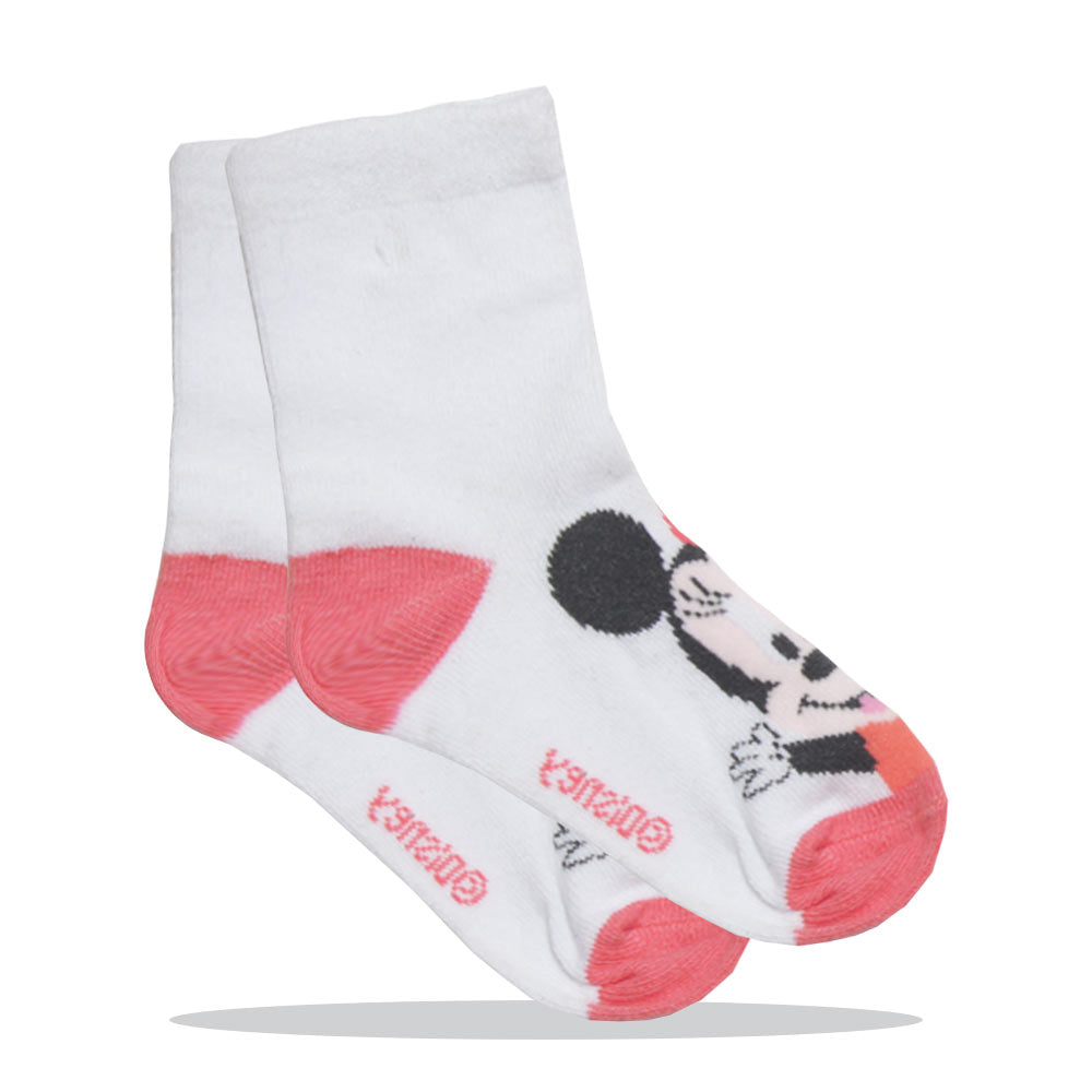Micky Mouse Print White Girls Cotton Socks
