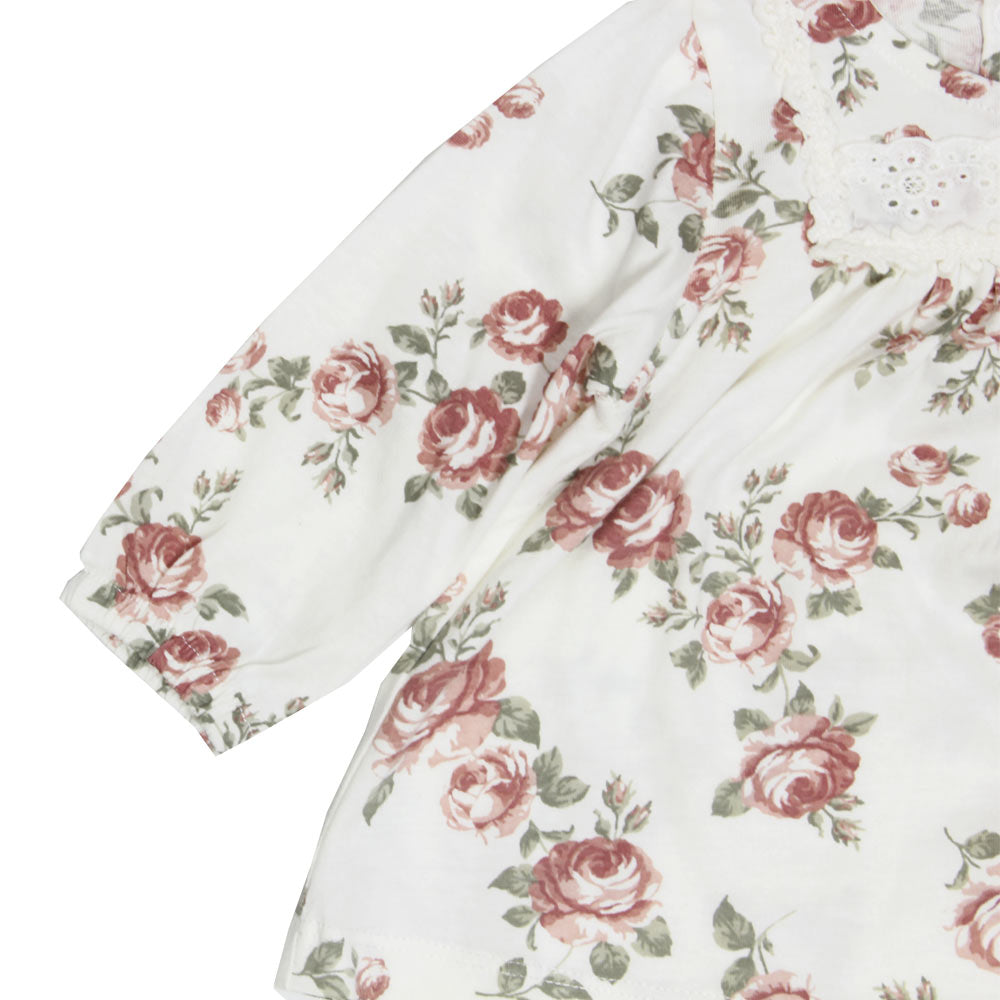 NEWBIE Flower Print Off White Girls Premium Cotton Dress Tshirt