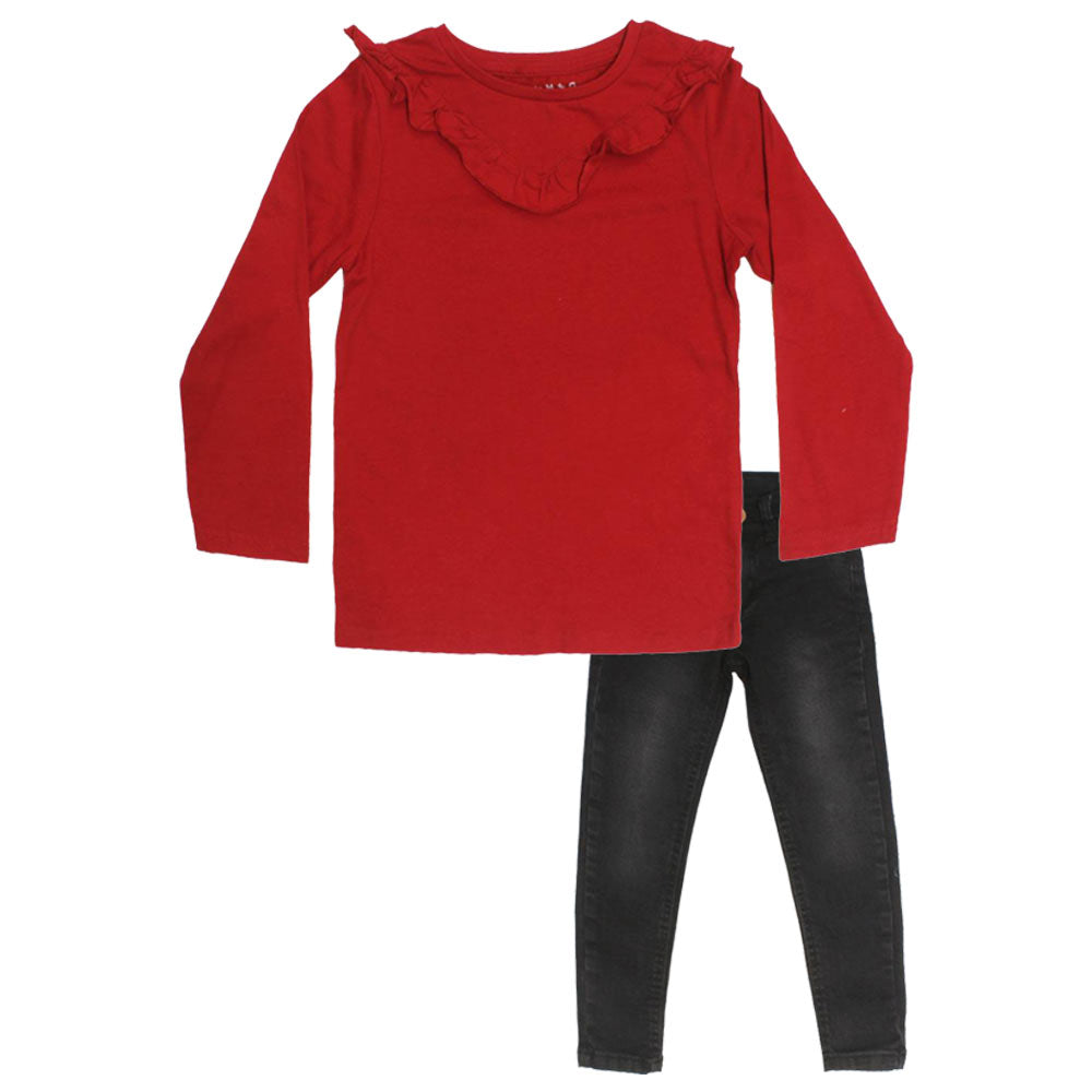 NUTMEG Frill Style Red Girls Premium Cotton 2 Piece Set