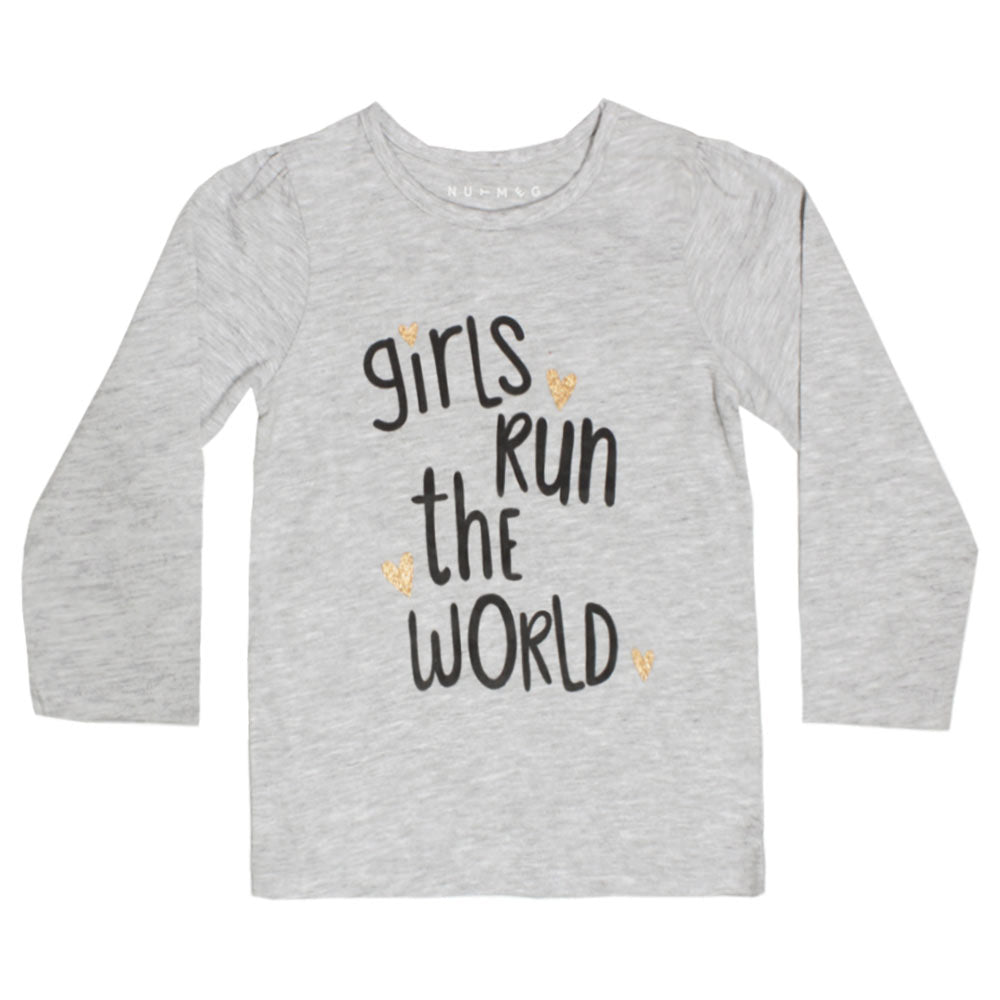 NUTMEG Glitter Star Grey Girls Premium Cotton Tshirt