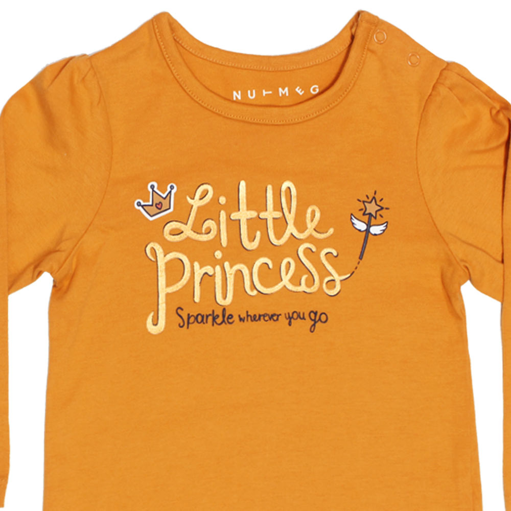 NUTMEG Little Princess Glitter Yellow Girls Premium Cotton Tshirt