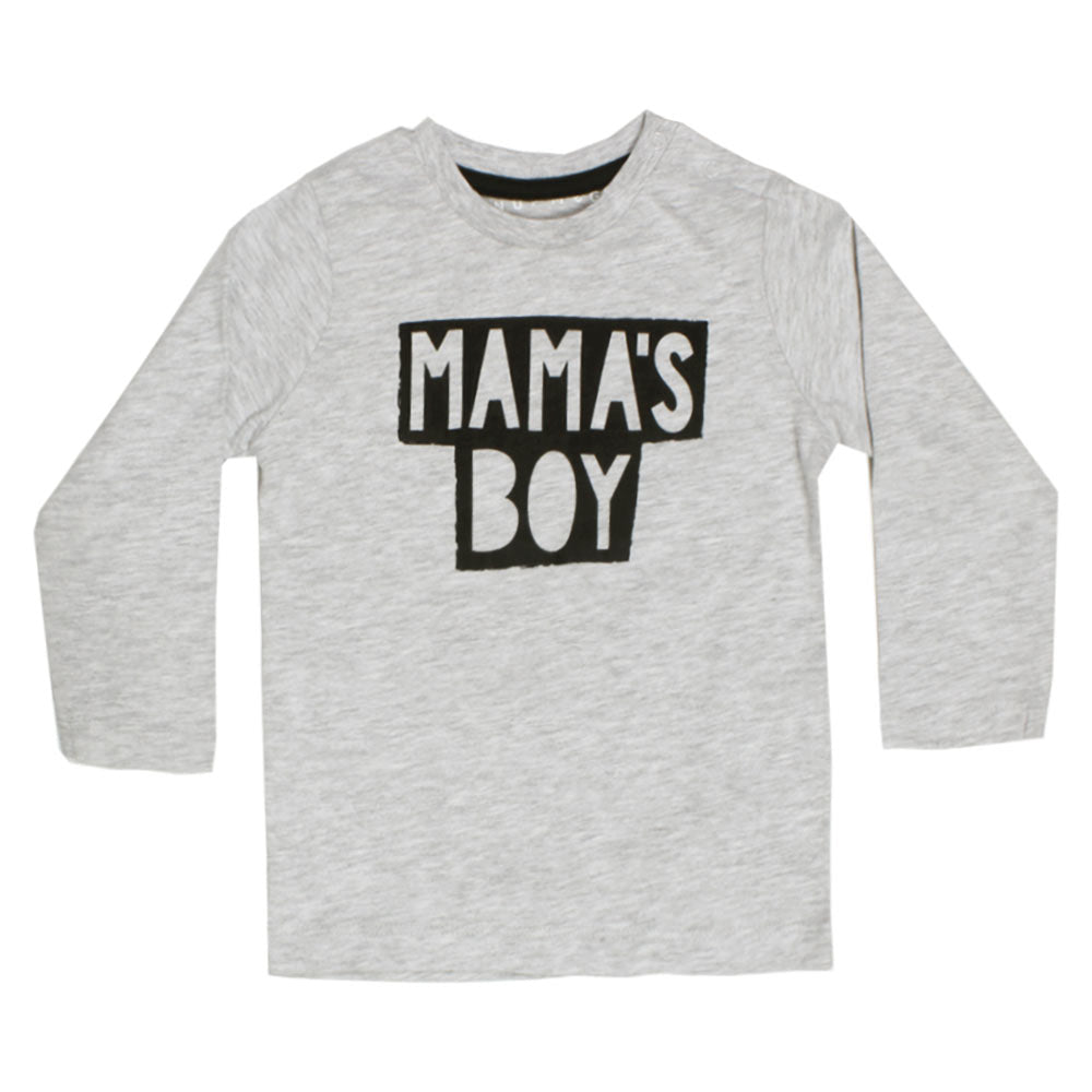 NUTMEG Mama's Boy Grey Girls Premium Cotton Tshirt