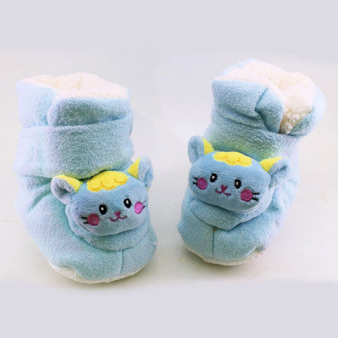 New Baby Blue Unisex Woolen Soft Sole Shoes