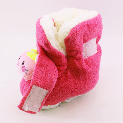 New Baby Hot Pink Unisex Woolen Soft Sole Shoes