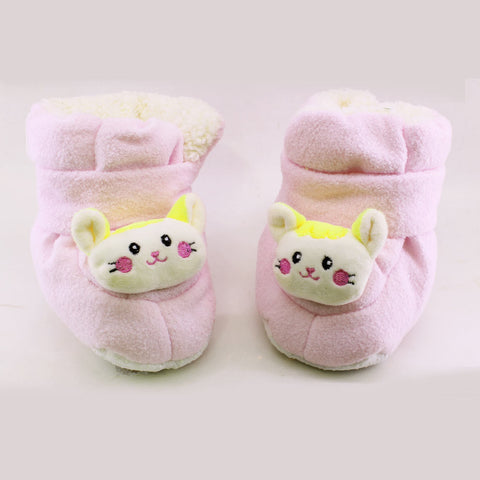 New Baby Pink Unisex Woolen Soft Sole Shoes