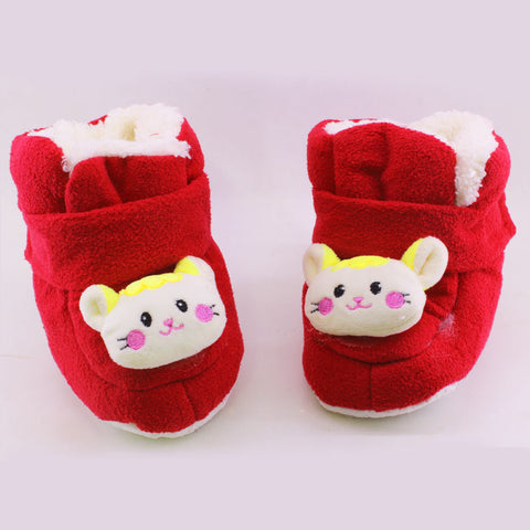 New Baby Red Unisex Woolen Soft Sole Shoes