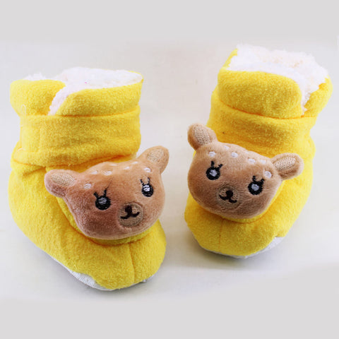 New Baby Yellow Unisex Woolen Soft Sole Shoes
