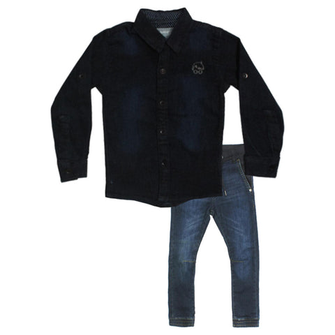 OSHKOSH Dark Blue Boys denim Shirt 2 Piece Set