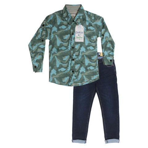 OSHKOSH Green Boys Cotton Shirt 2 Piece Set